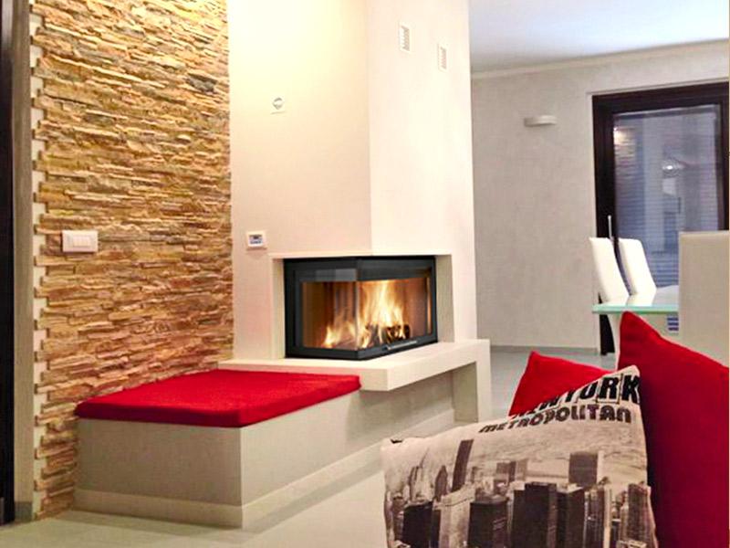 Caminetto da salotto idee per il design della casa - Caminetti moderni a parete ...