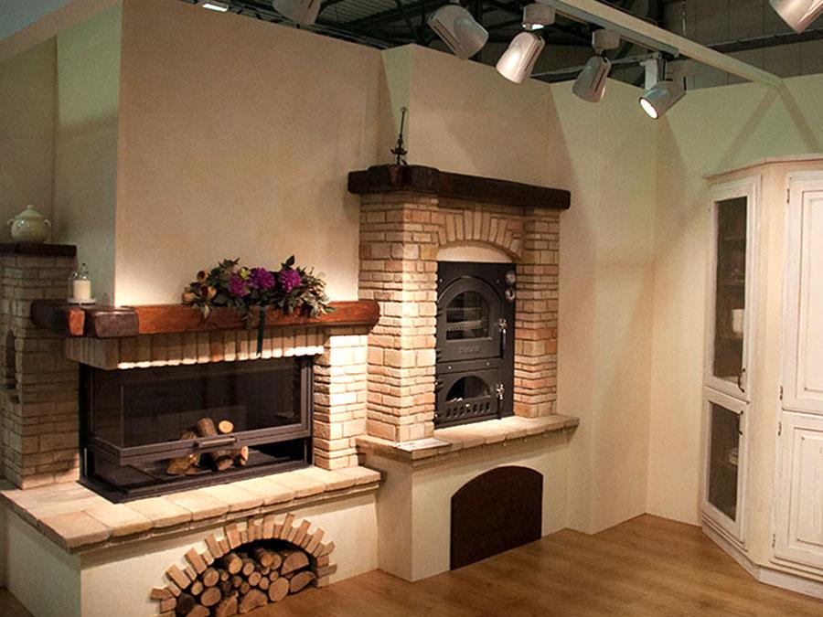 Caminetti rustici in pietra caminetto rustico salotto for Forno a legna in mattoni refrattari